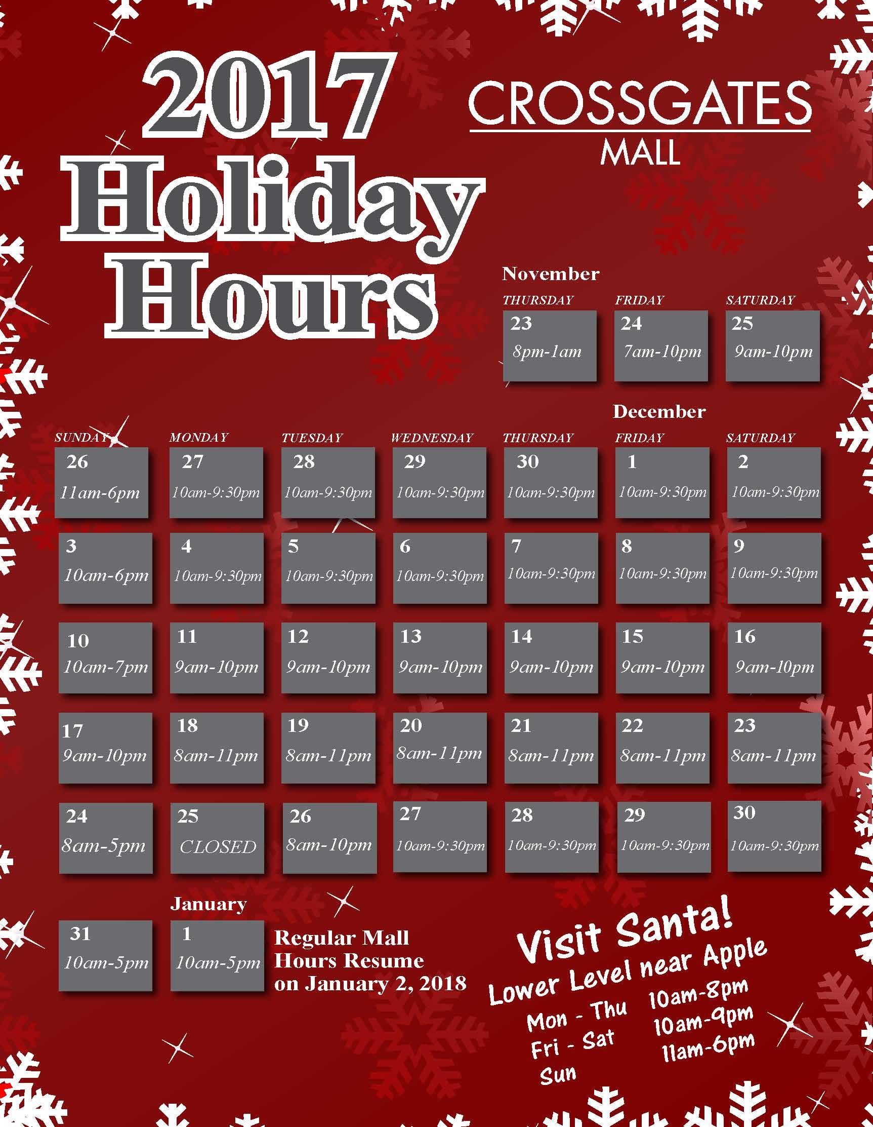 Crossgates Holiday Hours 2017_003