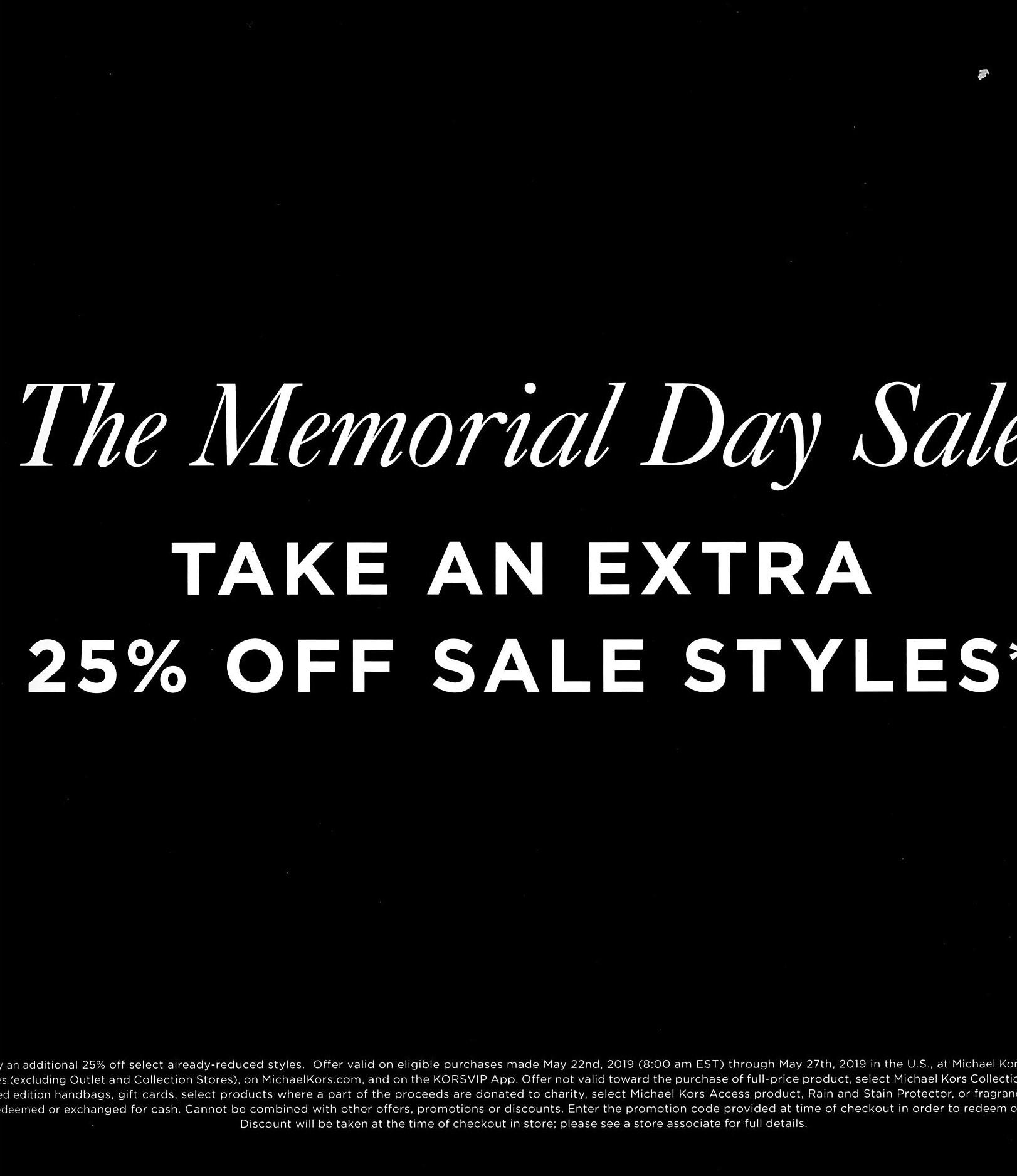 Michael Kors Memorial day sale