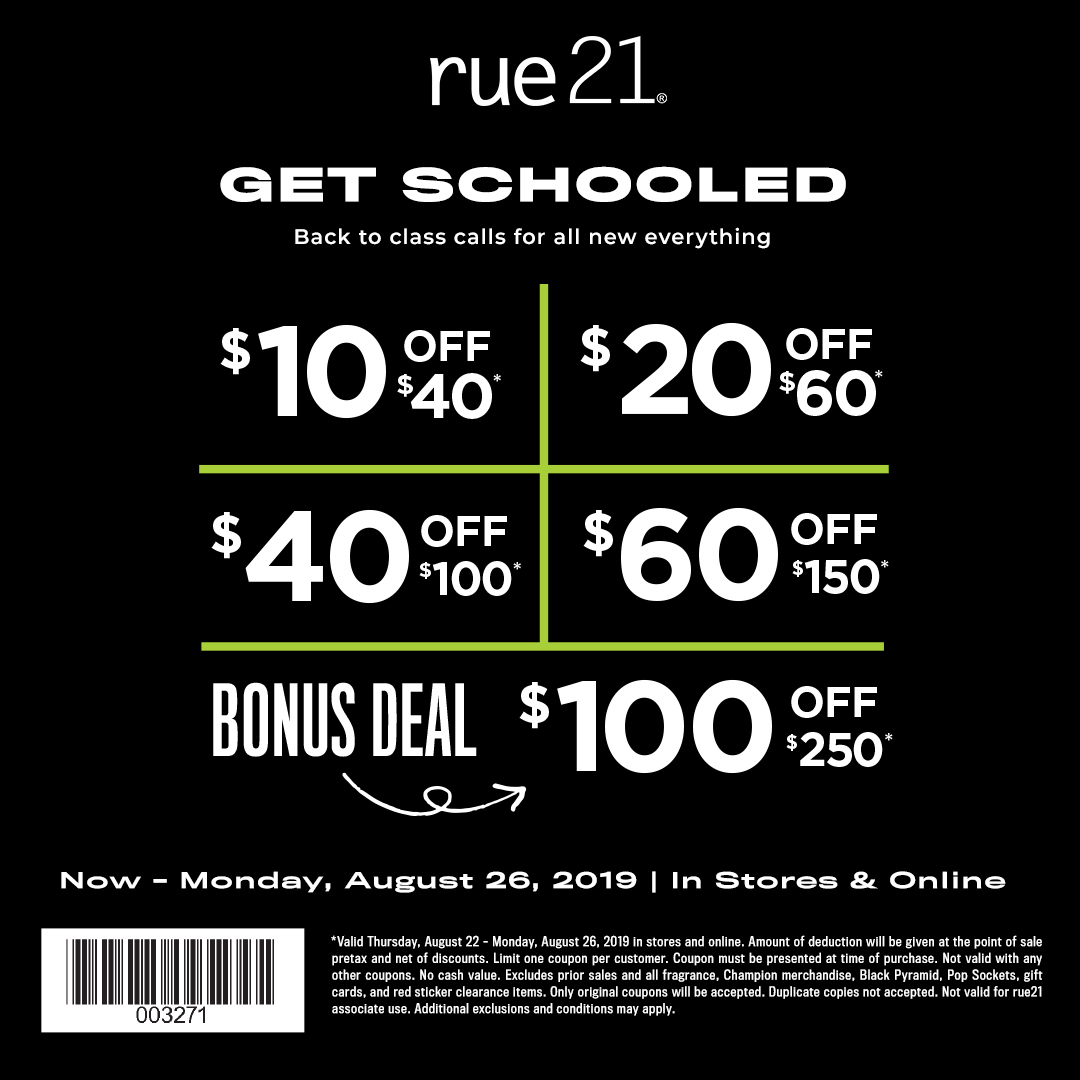 rue 21 August tiered coupon