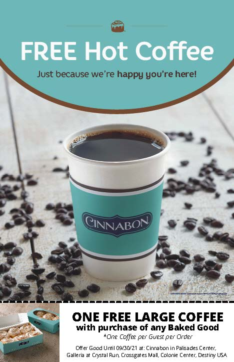 Cinnabon One LARGE Coffee per Guest per Order