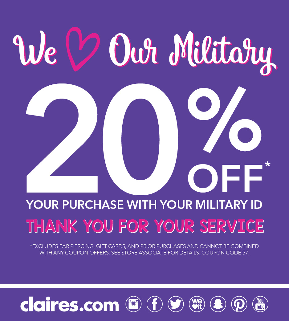 Claires Military Discount